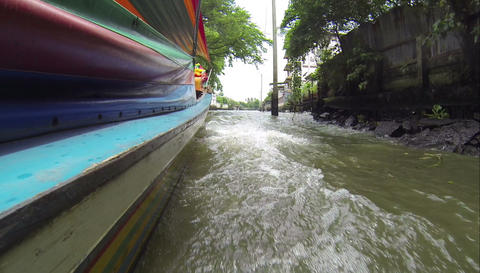 Longtail boat pov in Bangkok Khlongs Stock Video Footage