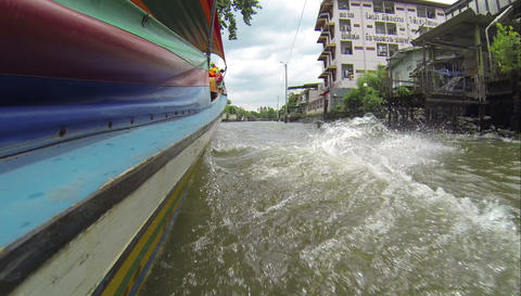 Longtail boat pov in Bangkok Khlongs Footage
