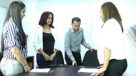 Giving A Friendly Reception At Meeting Stock Video Footage