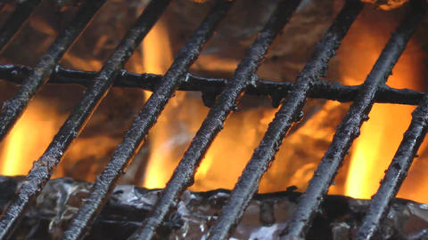 Bbq Grill Hot With Fire stock footage
