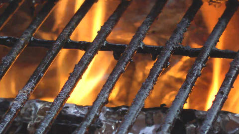 bbq grill hot with fire Stock Video Footage