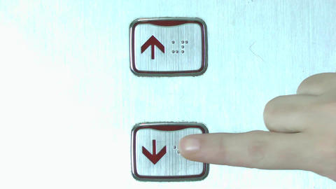 Down Elevator Button stock footage