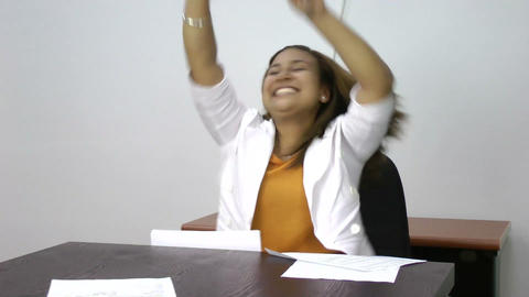Woman winning dancing celebrating her success exci Stock Video Footage