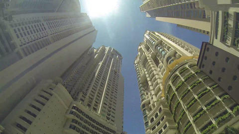 Skyscrapers and sky. Bottom view Stock Video Footage