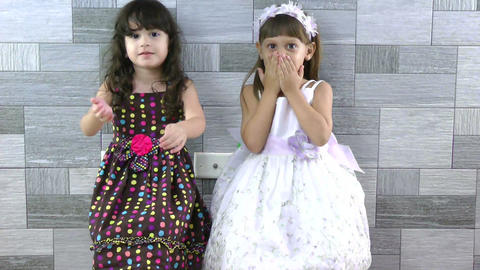 little girls sending kisses Footage
