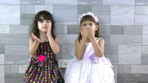 little girls sending kisses Stock Video Footage