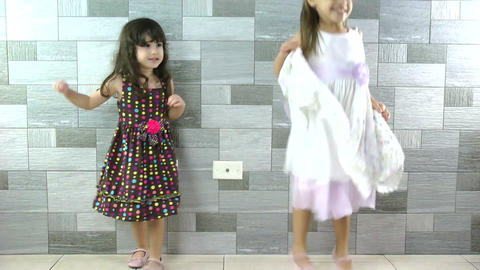 Happy little girls dancing Stock Video Footage
