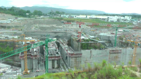 PANAMA CITY, AUGUST 10: Panama Canal expansion wor Footage