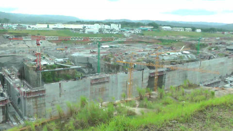 PANAMA CITY, AUGUST 10: Panama Canal expansion wor Stock Video Footage