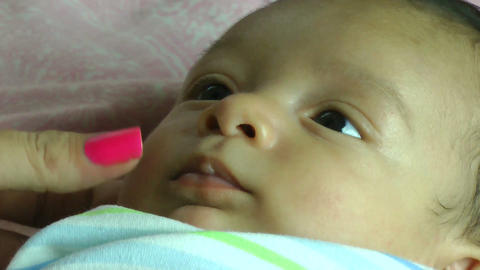 Close up of an infant smiling Stock Video Footage