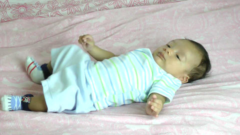 Two month old male hispanic baby Stock Video Footage