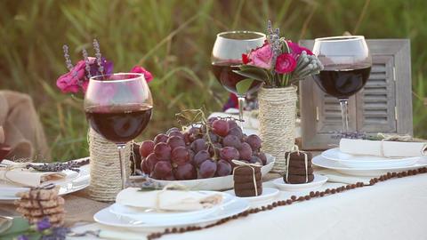 Wedding table decor setting timelapse Stock Video Footage