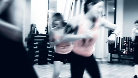 KickBox Kick Boxing Aerobics class Woman doing aer Stock Video Footage