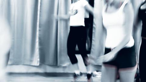 KickBox Kick Boxing Aerobics class Woman doing aer Footage