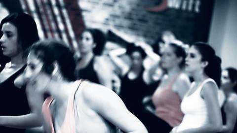 KickBox Kick Boxing Aerobics class Woman doing aer Stock Video Footage