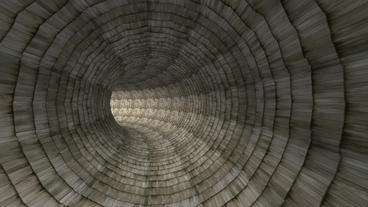 flying in wood brick tile tunnel hole Stock Video Footage