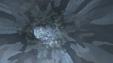 flying in noise mottled tunnel,another world passage Stock Video Footage