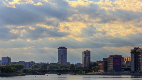 Clouds over the bridge Stock Video Footage