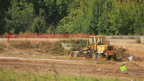 Excavator on the Road Stock Video Footage