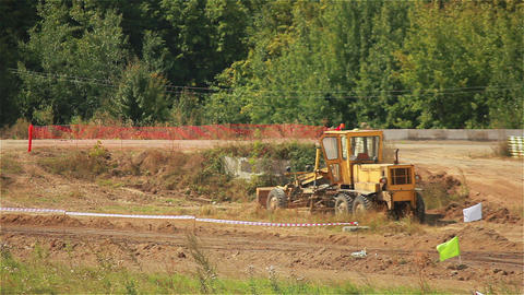 Excavator on the Road Stock Video Footage