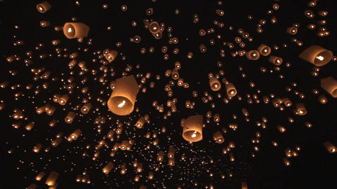 Launching fire lanterns for Loy Krathong Footage