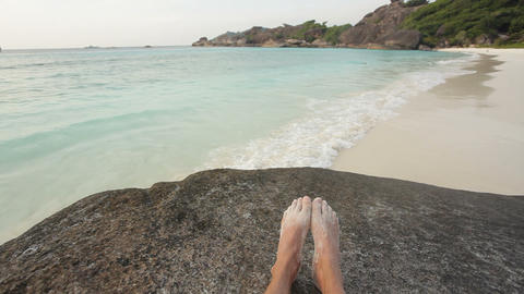 Tropical beach relax Stock Video Footage