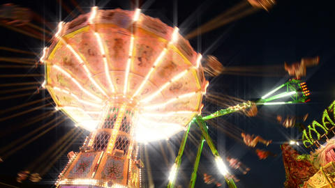 Funfair Classic Carousel With Dreamy Look stock footage