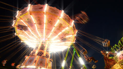 funfair classic carousel with dreamy look Stock Video Footage