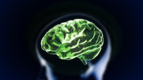 green brain with head section glow Stock Video Footage