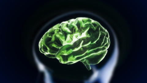 green brain with head section glow Animation