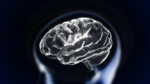White Brain With Head Section Glow stock footage