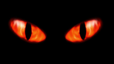 Animation Of A Evil Looking Fiery Eyes stock footage