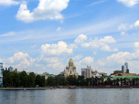 Church on Blood. Zoom. Russia, Ekaterinburg Stock Video Footage