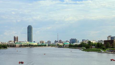 Central pond. Around TV tower. Russia, Ekaterinbur Footage