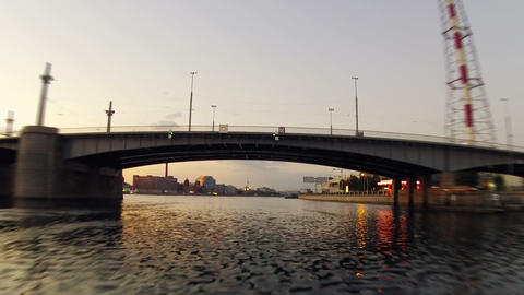 Morning on the city river. Timelapse Footage