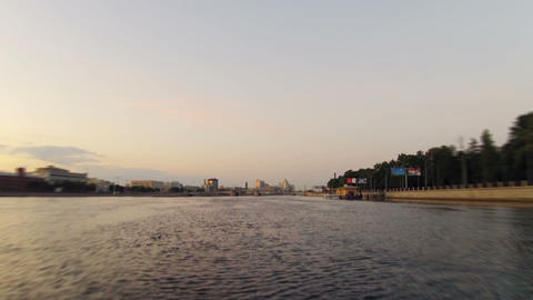 Morning on the city river. Timelapse Stock Video Footage