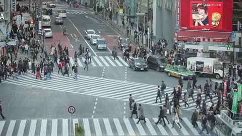 Tokyo Hachiko crossing slow motion Stock Video Footage