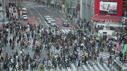 Tokyo Hachiko crossing slow motion Stock Video Footage