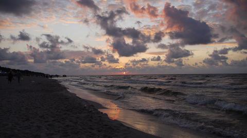 Purple sky over the sea Stock Video Footage