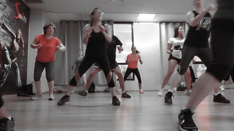 Fitness dance Women Practicing in Health Club well Footage