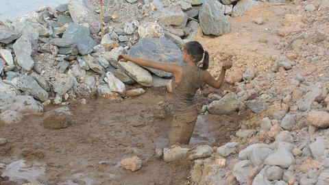 Girl Throwing Mud At Her Friend Stock Video Footage