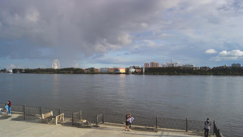 View from Blagoveshchensk over the river Amur Stock Video Footage