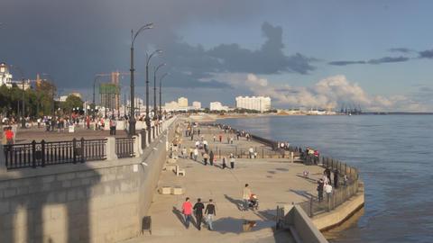 City of Blagoveshchensk Embankment 06 Stock Video Footage