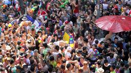 Songkran festival in Thailand Stock Video Footage