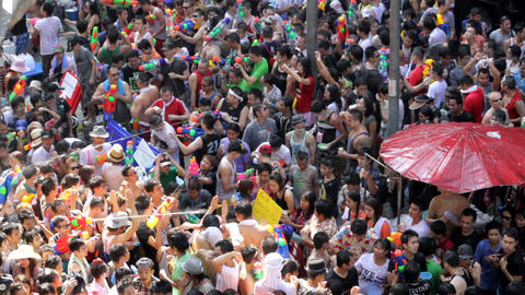 Songkran festival in Thailand Stock Video Footage
