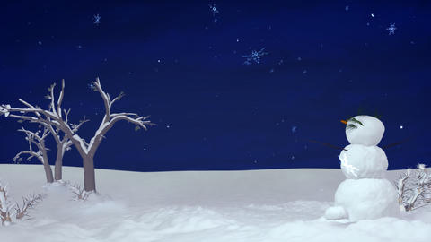 Christmas snowman at night Stock Video Footage