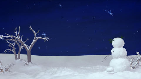 Christmas snowman at night Animation