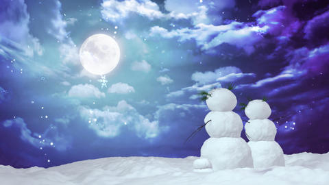 Christmas snowman moon Animation