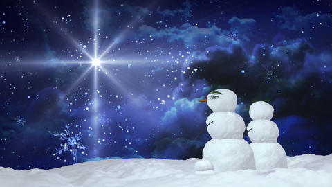 Christmas snowman pair star Stock Video Footage