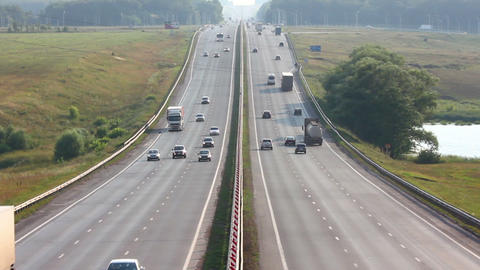 cars traveling on highway Stock Video Footage